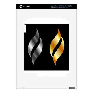 Elementos metálicos del diseño pegatina skin para iPad 3