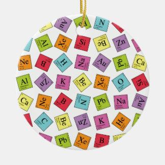 Elementos periódicos adorno navideño redondo de cerámica