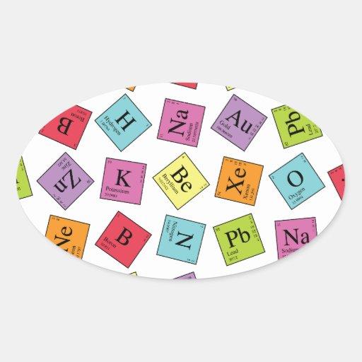 Elementos periódicos pegatina ovalada
