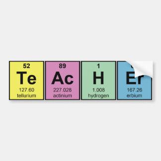 Elementos químicos del profesor de ciencias pegatina para auto