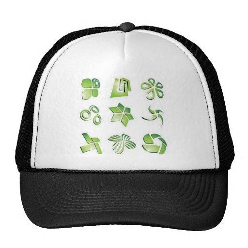 Elementos verdes del icono gorras de camionero