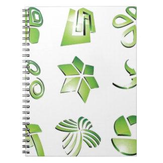 Elementos verdes del icono libros de apuntes