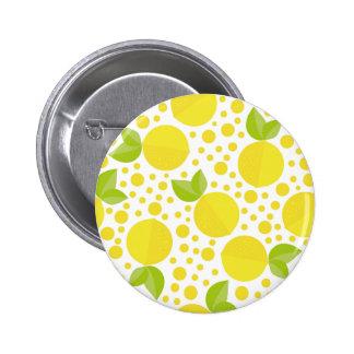 Elementos y limones florales dibujados mano pin redondo de 2 pulgadas