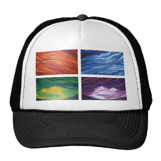 Elements acylic abstract  painting trucker hats