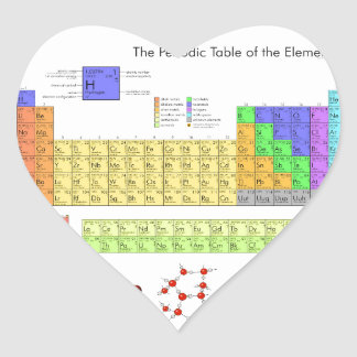 Elements Periodic Table Scientific Nerd Heart Sticker