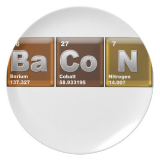 "Elements spelling ""BACON"" Dinner Plate"