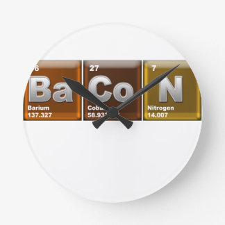 "Elements spelling ""BACON"" Round Clock"