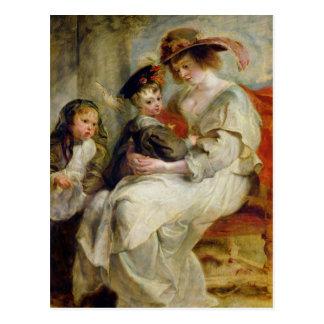 Elena Fourment con dos de sus niños Postal