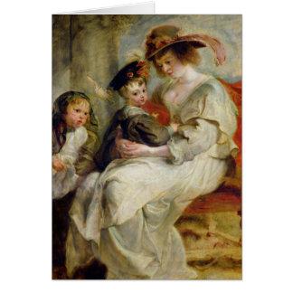 Elena Fourment con dos de sus niños Tarjeta De Felicitación