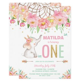 Elephant 1st Birthday Boho Pink Floral Girl Invitation