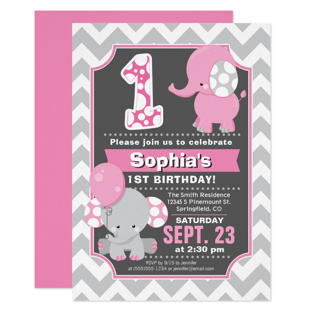 Elephant 1st Birthday Girl Invitation