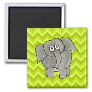 Elephant. 2 Inch Square Magnet