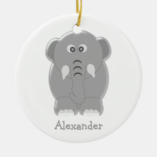 Elephant add your own name ceramic ornament