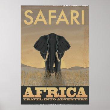 bartonleclaydesign Elephant Africa Safari vintage travel poster