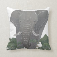 Elephant, African Animal Throw Pillow