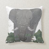 Elephant, African Animal Throw Pillow