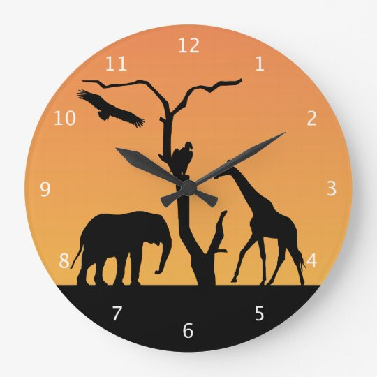 Elephant african sunset silhouette black & orange large clock