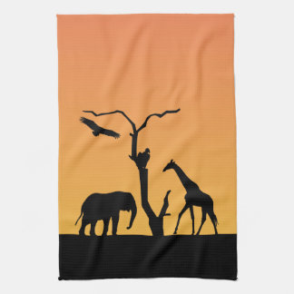 Elephant african sunset silhouette tea towel