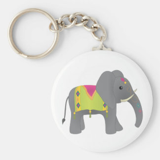 Elephant All Dressed Up Basic Round Button Keychain