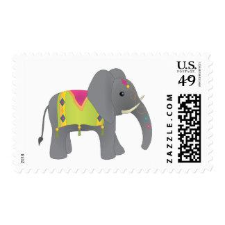 Elephant All Dressed Up Postage Stamp