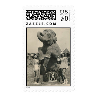 elephant and 2 girls circus stamp