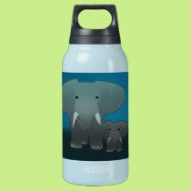 Elephant and a baby insulated water bottle