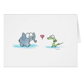 Elephant and Alligator Greeting Cards