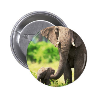 Elephant and Baby 2 Inch Round Button
