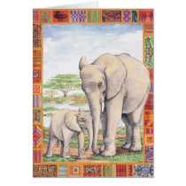 Elephant and Baby Blank Card