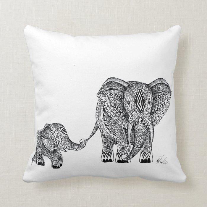 elephant and baby cushion throw pillow zazzle