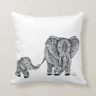 elephant and baby cushion! throw pillow