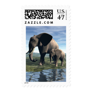 Elephant and Baby Postage Stamp