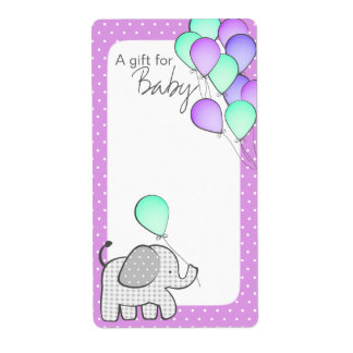 Elephant and Balloons Magenta Polka Dot Book Tags Label