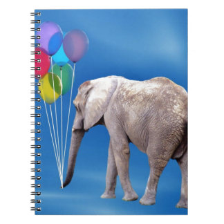 Elephant and Balloons Spiral Notebook