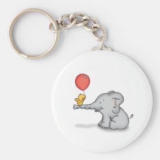 Elephant and Bird Basic Round Button Keychain