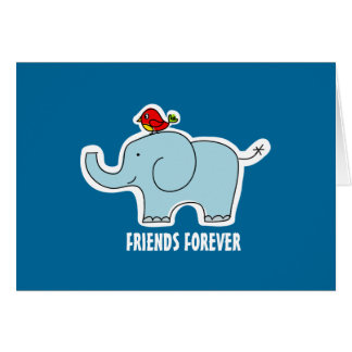 """Elephant and Bird """"Friends Forever"""" Note Card"""
