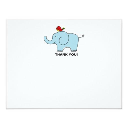 "Elephant and Bird Thank You Notecards 4.25"" X 5.5"" Invitation Card"