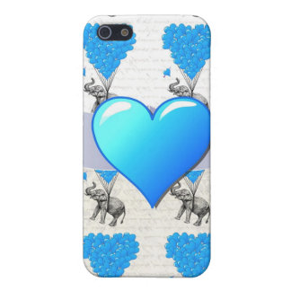 Elephant and blue heart balloons iPhone SE/5/5s cover