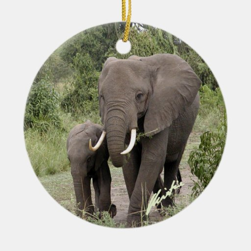 Elephant and Calf Ornament (2-sided)