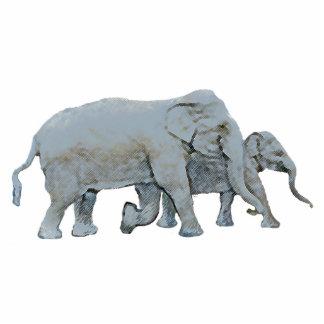 Elephant and Calf Photorealistic Original Graphic Cutout