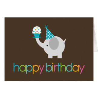 Elephant and Cupcake Birthday Greeting Cards
