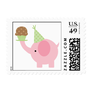 Elephant and Cupcake Birthday Party Postage