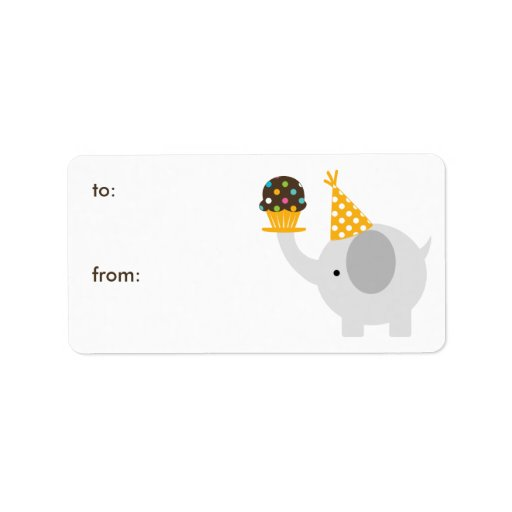 Elephant and Cupcake Gift Tags Personalized Address Label