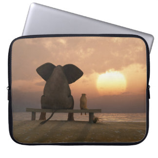 Elephant and Dog Friends Laptop Sleeve