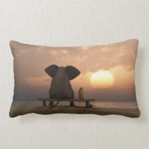 Elephant and Dog Friends Lumbar Pillow
