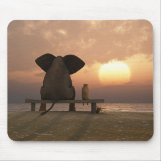 Elephant and Dog Friends Mouse Pad