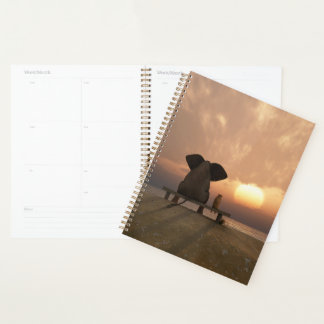 Elephant and Dog Friends Spiral Planner
