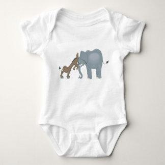 elephant and donkey baby bodysuit