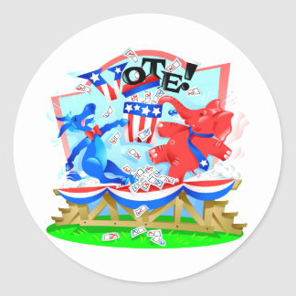 Elephant and Donkey VOTE Illustration Classic Round Sticker