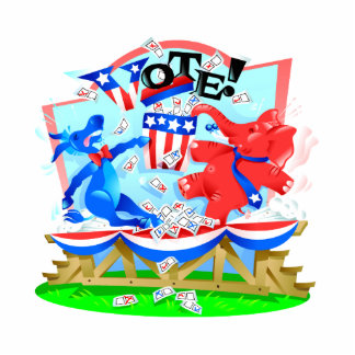 Elephant and Donkey VOTE Illustration Standing Photo Sculpture